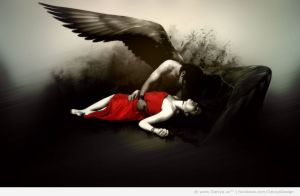 Dark_angel-man-protects-his-arms-a-woman-dressed-in-red-realistic-srtyle2